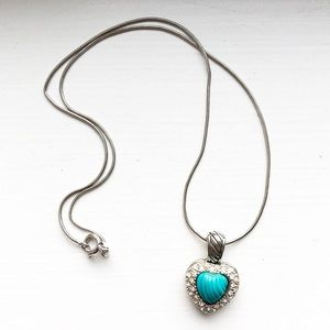 Italy sterling silver & turquoise heart necklace